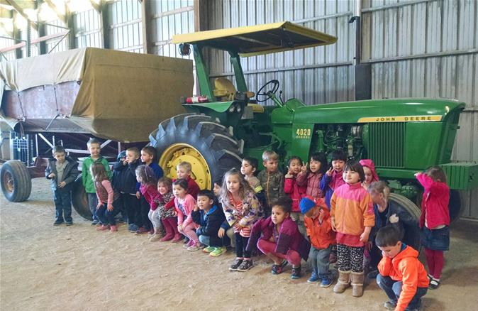 A photo op in front of the tractor!